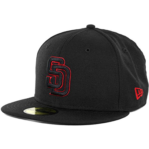 New Era 59Fifty San Diego Padres Fitted Hat (Black/Black/Red) Men's Custom Cap (Custom New Era Hats)