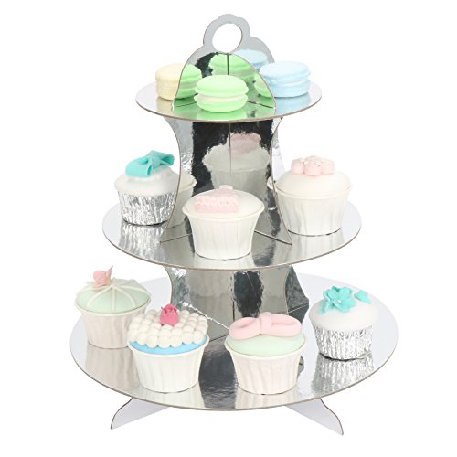 RiscaWin 3-Tier Round Stacked Party Cupcake and Dessert Stand Cupcake Tower Silver