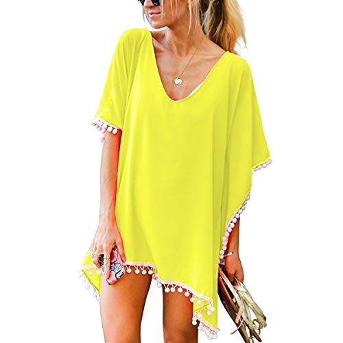 Yusongirl Women Tassel Pom Pom Trim Kaftan Chiffon Swimwear Beach Cover Up Yellow ()