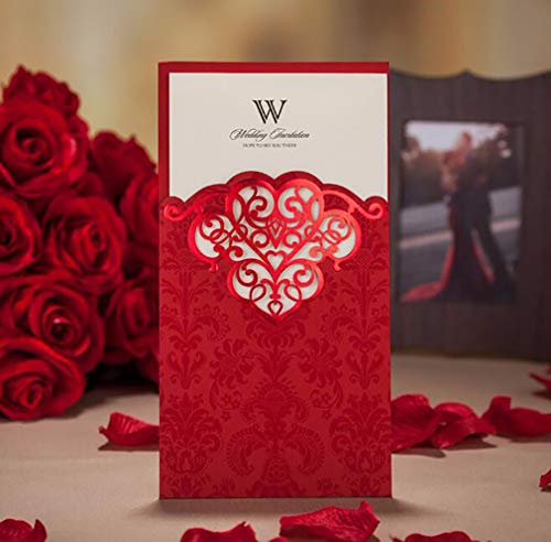 1 Piece WISHMADE Red Laser Cut Invitation with Screen Printing and Bronzing Design Invites Kit, for Wedding Bridal Shower Engagement Birthday Quinceanera Baby Shower with Envelope -