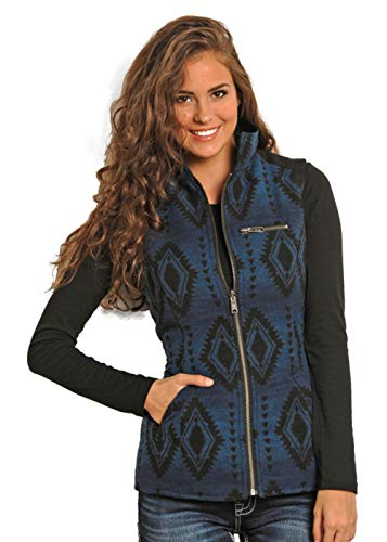 Blue Wool Powder (powder river Outfitter Reversible Aztec Wool Vest L)