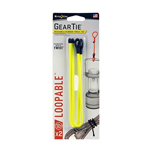 Nite Ize GLS12-33-2R7 Gear Tie, 12-Inch (2-Pack), Neon Yellow