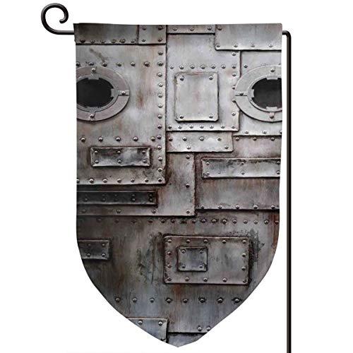 (lsrIYzy Garden Flag,Rusty Stylized Iron Porthole Grunge Scratched Steel Factory Entrance Retro Image,12.5x18.5 inch)