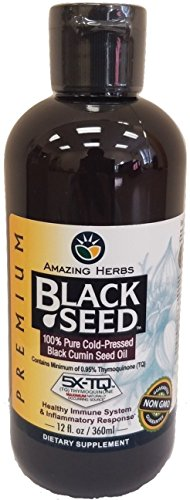 Amazing Herbs Black Seed Oil- 12 Oz. Premium 100% Pure Cold Pressed Black Cumin Seed Oil -12 Oz - Dietary Supplement for Healthy Immune System & Inflammatory (Cumin Seed Essential Oil)