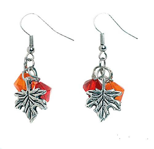 Thanksgiving Fall Maple Leaf and Glass Bead Dangle Earrings