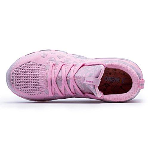 Yidiar Ligero Para Mujer Con Cordones De Aire Respirable Cojín Deportivo Zapatillas Rosa Plata