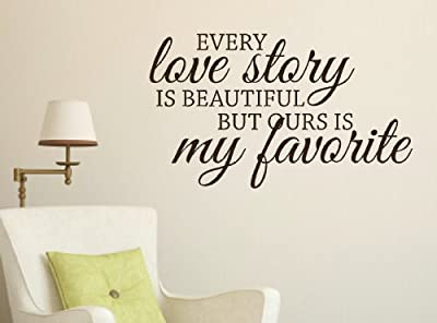 "Wall Décor Plus More WDPM1214 ""Every Love Is Beautiful But Ours Is My Favorite"" Vinyl Wall Sticker Quote, 23-Inch x 13.5-Inch, Chocolate Brown"