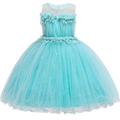 Girls Dress for 10-12 Years Halloween Christmas Holiday Celebration Party Dresses 10-12T Sleeveless Special Occasion Dresses for Teens Blue Bridesmaid Lace Tutu Junior Dresses (Tiffany Blue. 140) -