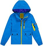 Wantdo Boy's Lightweight Hooded Rain Jacket Waterproof Outwear Windbreaker with Zipper(Blue, 10/12)