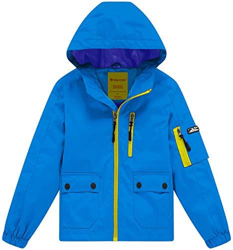 Wantdo Boy's Lightweight Hooded Rain Jacket Waterproof Outerwear Blue ()