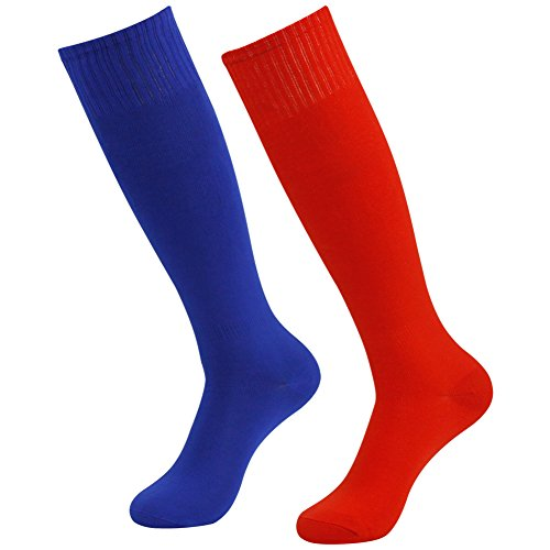 (Mens Volleyball Socks Long, Diwollsam Womens 2 Pairs Plus Size Knee High Cute Classic Dry Fit Team Sport Tube Stocking for Soccer Football Cosplay(Blue,Red) )