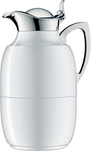 alfi Juwel Glass Vacuum Lacquered Metal Thermal Carafe for Hot and Cold Beverages, 1.0 L, Polar White by Alfi