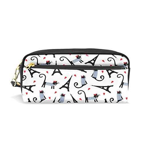 (Naanle Cartoon Parisian Cat Tour Eiffel French Style Zipped Portable Makeup Cosmetic Bag for Mother Pencil Bag Pouch Holder Toiletries Phones Electronics Storage Multifuncition Organizer,White)