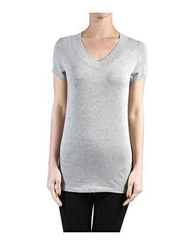 Hollywood Star Fashion, maglietta da donna, con profondo scollo a V, a maniche corte Heather Grey