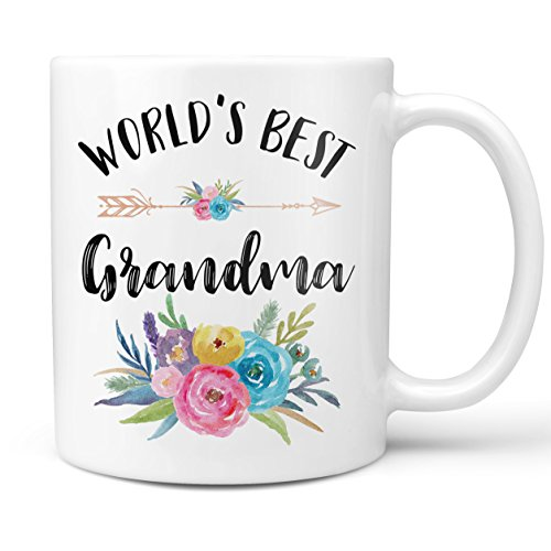 World's Best Grandma Mug - 11 Ounce Coffee and Tea Mug - Grandma Mug - Mother's Day Mug For Grandma- Gift for Grandma