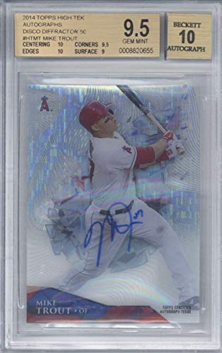 Mike Trout Signed Auto 2014 Topps High Tek Disco Diffractor 50 BGS 9.5 10
