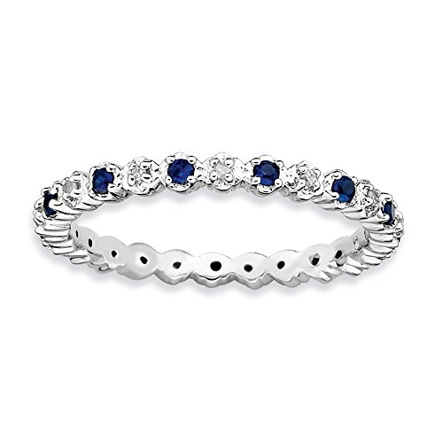 2.25mm Stackable Created Sapphire .04 Ctw HI I3 Diamond Silver Band