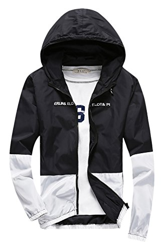 Zip Front Windbreaker - Amcupider Men's Contrast Zip Front-Zip Jacket (US S, top Black)