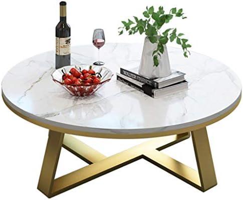 Goedkoop Aanbevelen Woonkamertafels Modern Elegant Ronde Thuis Koffietafel - Metalen Gouden Frame & Marmeren Desktop - Ideaal voor Woonkamer/Balkon/Snack/Bedkant, Meubilair Essentials  e4W3P1e