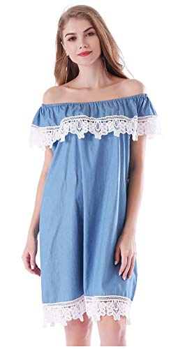 AddJoy Womens Off Shoulder Short Sleeve Casual Denim Dress Plus Size (XXL, Light Blue)