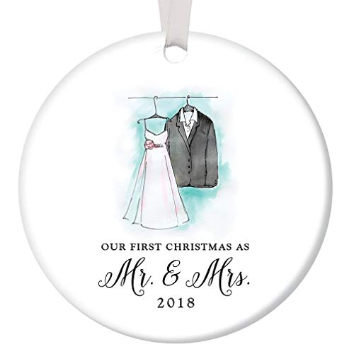 First Christmas Mr & Mrs 2018 Ornament Bride & Groom Wedding Porcelain Keepsake Present Newlywed Couple 1st Holiday Married Gift Idea 3
