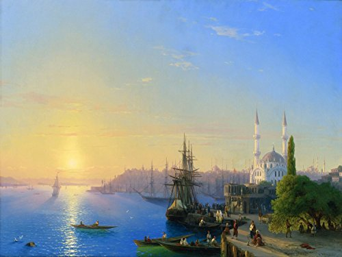View of Constantinople and The Golden Horn by Ivan Aivazovsky Mural Kitchen Bathroom Wall Backsplash Behind Stove Range Sink Splashback One Tile 8