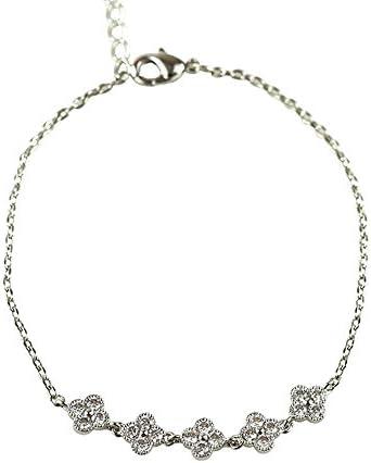 【Petit Lulu shop】ブレスレット レディース AAA級ダイヤモンドCZ フラワー アンティーク k18 18金RGP 18k 2色展開 プチルルオリジナルブレスレット3点セット (ホワイトゴールド)