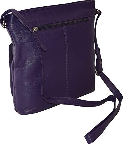 Pielino Genuine Crossbody Protection Multi Leather RFID Bag Purple Women's Pockets r5xq0wrY