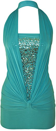 Ladies Sequin Halter Neck Ruched Boob Tube Stretch Top UK Size 6-14 (M/L (US 10-12), Turquoise)
