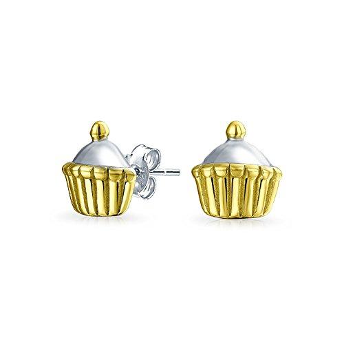 Two Tone Birthday Cake Cupcake Baker Stud Earrings For Women For Teen 14K Gold Plated 925 Sterling - Birthday 14k Cake