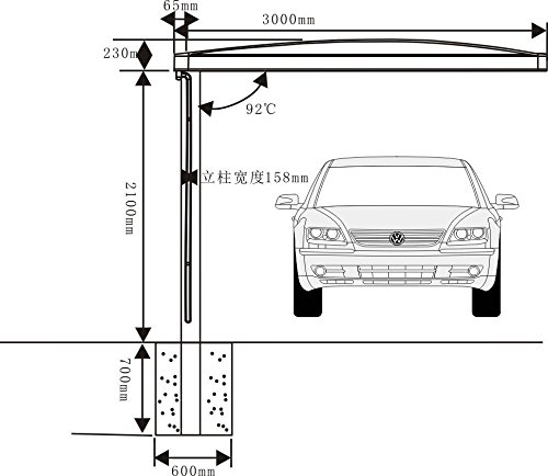 10' x 18' Metal Carport Canopy Aluminum Carport Covers Durable with Gutter Metal Vehicle Shelter RV Carport Metal Garage for Car, Yacht and Copter, Also Is Luxury Patio Cover by ClearYup (Image #5)