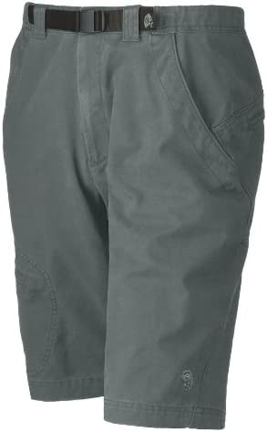 Photo of a cargo shorts in dark moss green shade, blackbelt attached to the belt loops.