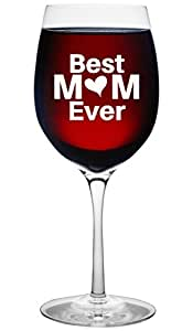 Best Mom Ever Mothers Day Gift Idea - Wine Glass Gift for Moms 16 Oz Unique Birthday Gift For Women - Christmas Present Idea For New Mother Wife Girlfriend Sister From Son Daughter or Kids