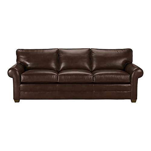 Ethan Allen Bennett Roll-Arm Leather Sofa, 94