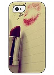 OUO Fashion Design of Red Lip Print Cool Unique High Quality Slim Fit iphone 4 4s Case for Girls