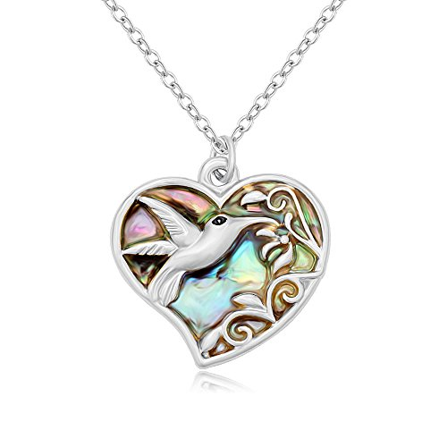 Price comparison product image SENFAI Nature Abalone Shell The Hummingbird Flying in Flower in Heart Pandent Necklace (silver)