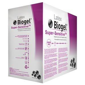 Molnlycke 82560 Biogel Super-Sensitive Sterile Powder Free Surgical Glove, Natural Rubber, Straw, 6'' Length, Latex, Beaded-Cuff (Pack of 200)