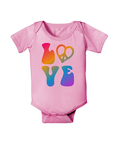 - TOOLOUD Peace and Love - Peace Heart Love Baby Romper Bodysuit - Candy Pink - 12 Months
