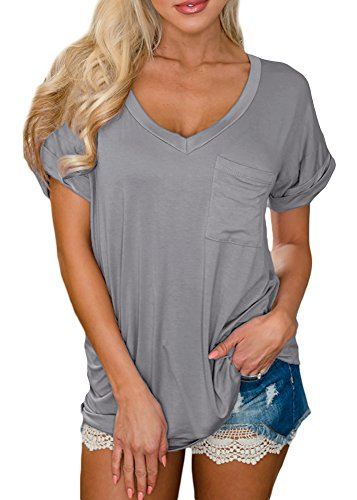 Grey Tunic Top (For G and PL Womens Casual Short Sleeve Loose Fit Blouse Cotton Pocket T Shirts Summer Plain V Neck Tunic Top Grey 2XL)