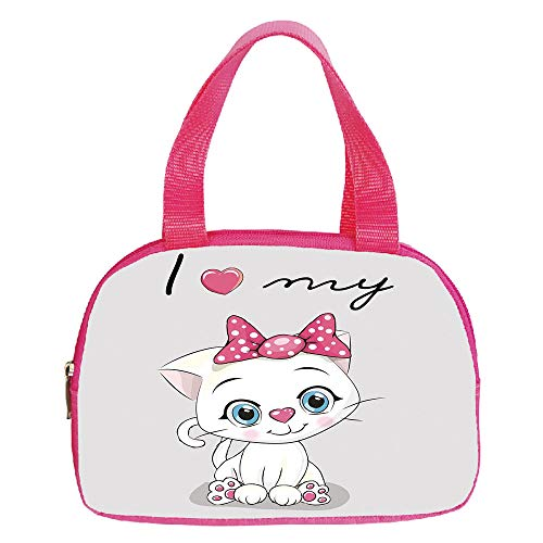 (iPrint Vogue Small Handbag Pink,Kitten,Cute Cartoon Domestic White Cat Pink Cheeks Fluffy I Love My Pet Themed Print Decorative,Grey White Pink,for Girls,Diversified Design.6.3