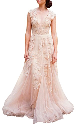 Ethel Women's Tulle V-neck Zipper Applique A-line Sweep Train Bridesmaid Dresses