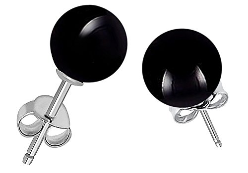 (Genuine Black Onyx Gemstone Stud Earrings, 925 Sterling Silver, Perfect Gift for Women's And Girls, Secured Butterfly Back Push (7 Cttw, 8 Mm Round Ball))