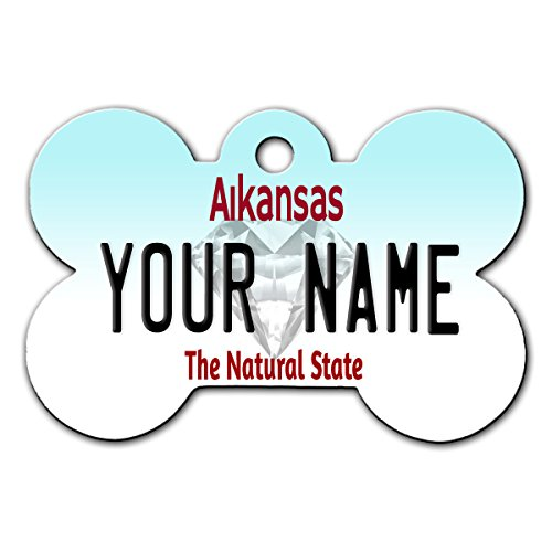 BleuReign(TM) Personalized Custom Name Arkansas State License Plate Bone Shaped Metal Pet ID Tag with Contact Information