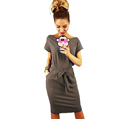 Longwu Women's Elegant Short Sleeve Wear to Work Casual Pencil Dress with Belt Coffee-M