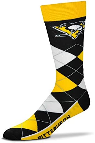 For Bare Feet NHL Argyle Lineup Unisex Crew Dress Socks-One Size Fits Most-Pittsburgh Penguins