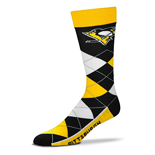 (For Bare Feet NHL Argyle Lineup Unisex Crew Dress Socks-One Size Fits Most-Pittsburgh Penguins)