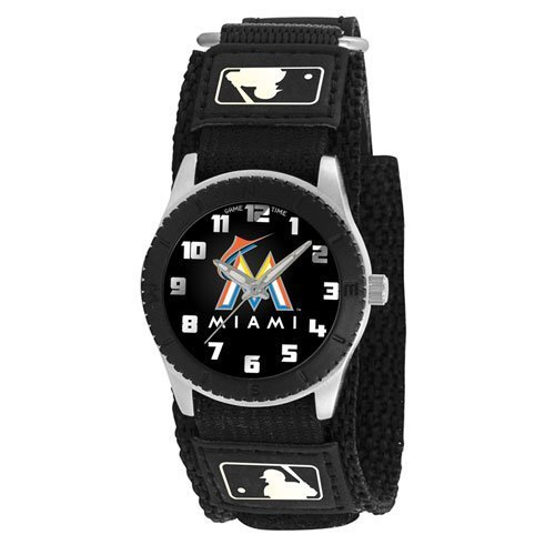 Game Time Boy's 'Rookie' Quartz Metal and Canvas Casual Watch, Color:Black (Model: MLB-ROB-MIA) (Canvas Rookie)