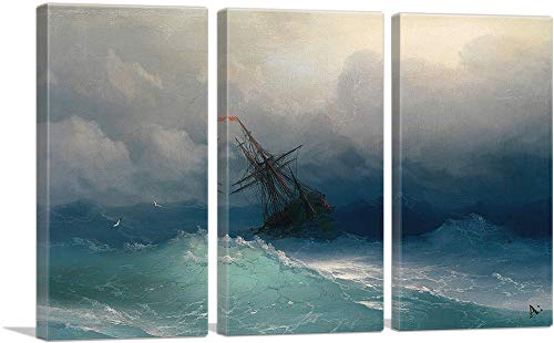 ARTCANVAS Ship in The Stormy Sea 1858 Canvas Art Print by Ivan Aivazovsky – 60 x 40 0.75 Deep 3-Piece