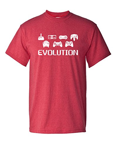 Evolution of Video Game Gamer Controller 8 Bit Classic Vintage Tee Funny Humor Pun Graphic Adult Mens T-Shirt (2XL, Heather Red) (Console Evolution)