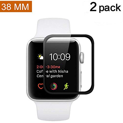 Apple Watch 38mm Screen Protector (Series 2) [Full Coverage] [2 Pack] Asstar Anti-Bubble, Ultra-Thin Ultra HD Premium Tempered Glass Screen Protector For Apple Watch 2 38mm (2 pack)